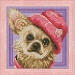 chihuahua, 4569, AM1569, mosfa, rto, diamond painting, perlebroderi, rosa hatt, hund