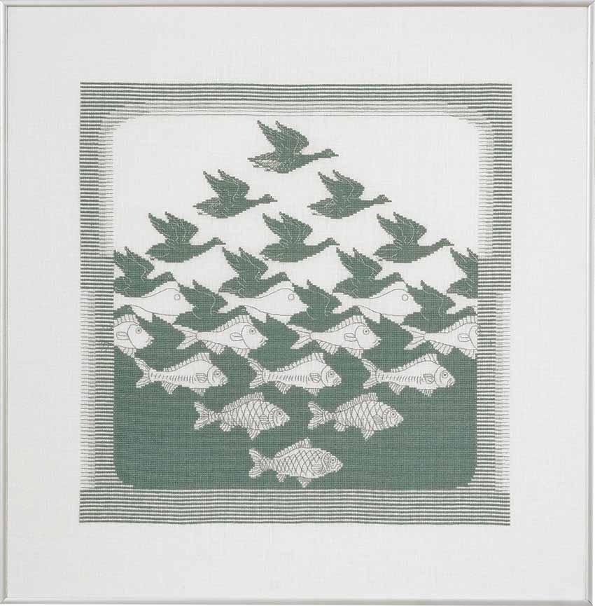 Fugl/ fisk broderi - grønn