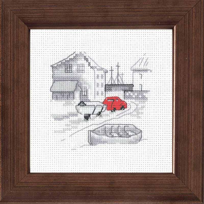 Rød bil i fiskerby broderi