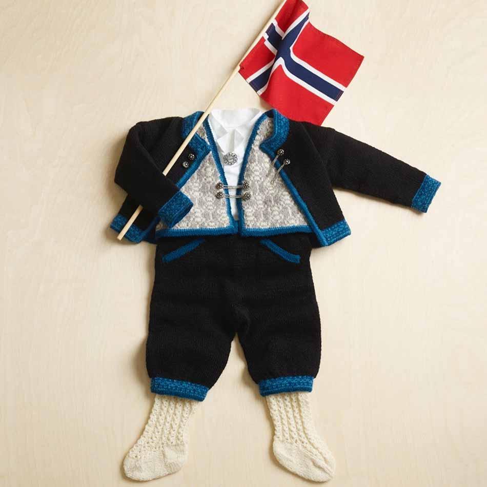 Festrakt jakke til gutt, strikket i Finull.
