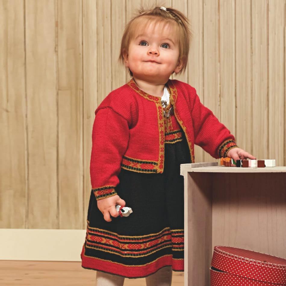 Baby kjole festdrakt strikkepakke