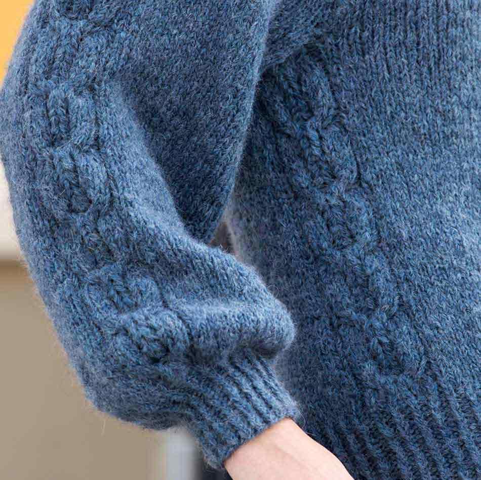 Aida Genser Denimblå strikkepakke dame